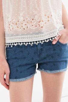 Shorts di jeans stretch stampa, Lavaggio scuro, hi-res