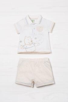 Biocotton polo shirt and shorts set, White/Brown, hi-res