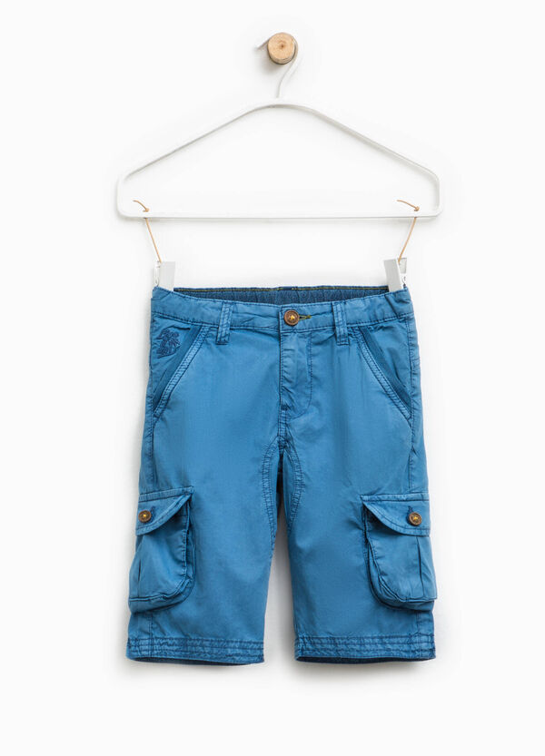Cargo-cut Bermuda chinos with embroidery | OVS