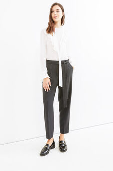 Elegant trousers with stripes and belt, Black/Grey, hi-res