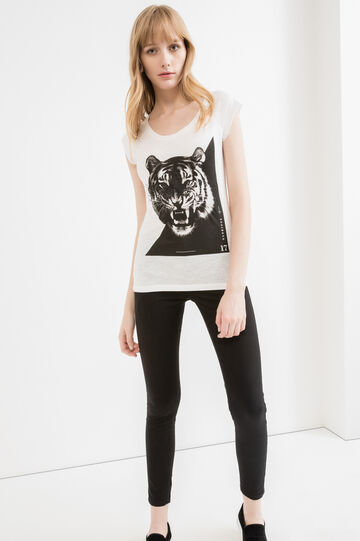 100% cotton T-shirt with raw-edge sleeves, Milky White, hi-res