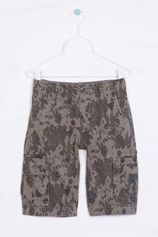 Patterned cotton Bermuda cargo shorts, Dark Green, hi-res