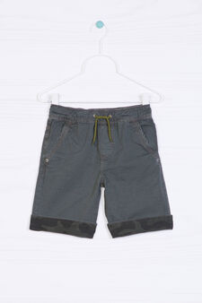 Cotton shorts with contrasting band., Grey, hi-res