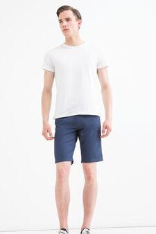 Solid colour 100% cotton Bermuda shorts, Blue, hi-res