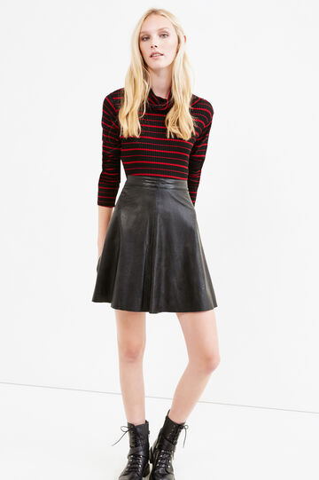 High-waisted leather-look skirt, Black, hi-res