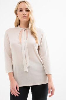T-shirt pura viscosa Curvy, Bianco gesso, hi-res