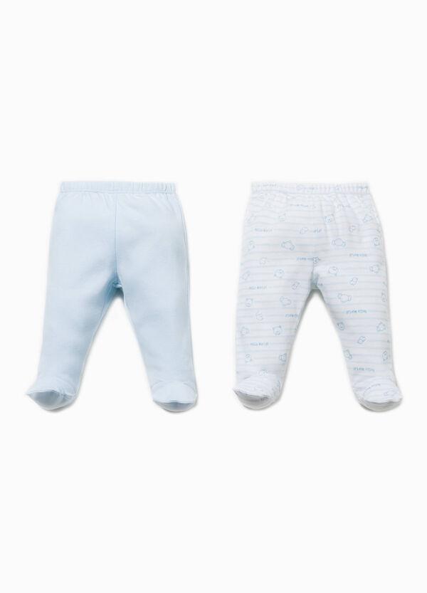 Pack de dos pantalones en algodón de color liso y de rayas | OVS