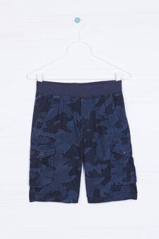 Camouflage pattern Bermuda shorts, Black/Blue, hi-res