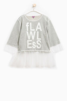 Cotton blend sweatshirt with tulle, Light Grey, hi-res
