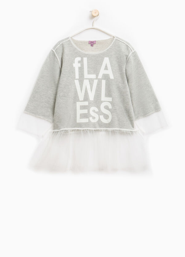 Cotton blend sweatshirt with tulle | OVS
