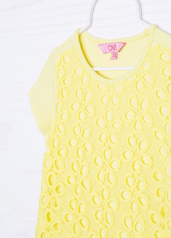 T-shirt traforata cotone tinta unita | OVS