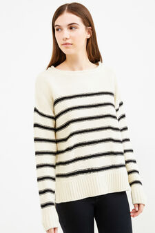 Pullover tricot fantasia a righe, Bianco/Blu, hi-res