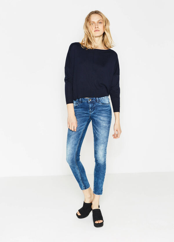 Mis-dyed effect skinny-fit stretch jeans | OVS