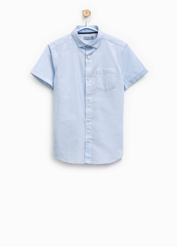 Cotton shirt with speckled weave | OVS
