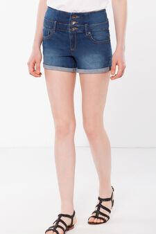 Three-button denim shorts, Denim, hi-res