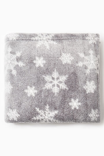 Fleece throw with snowflakes pattern, Grey, hi-res