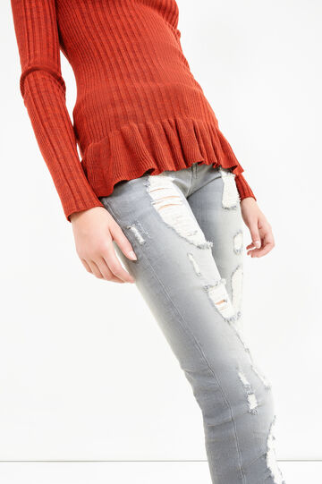 Skinny-fit stretch jeans with rips, Grey, hi-res