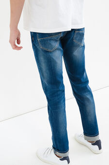 Worn-effect slim-fit jeans with whiskering, Medium Wash, hi-res