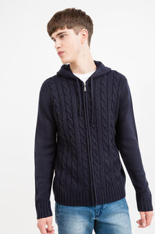 Solid colour hooded cardigan, Navy Blue, hi-res