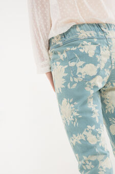 Jeggings stretch fantasia fiori, Azzurro chiaro, hi-res