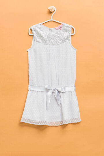 Sleeveless dress with a bow at the waist, Grey/Silver, hi-res