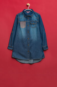 Diamanté denim shirt with false pocket, Denim, hi-res