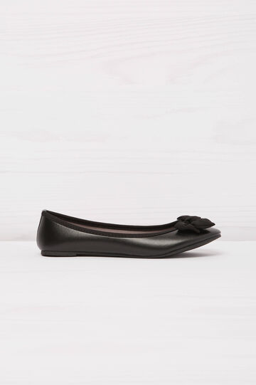 Solid colour ballerina flats with bow, Black, hi-res