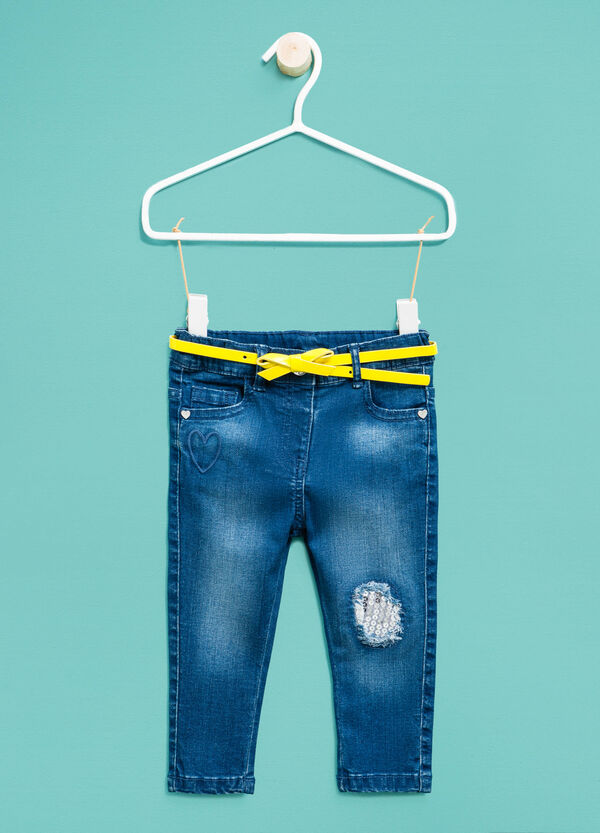 Jeans stretch con cintura e paillettes | OVS