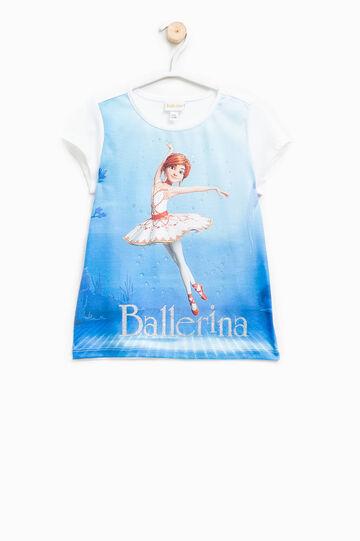 Camiseta en algodón elástico con estampado de Ballerina, Blanco, hi-res