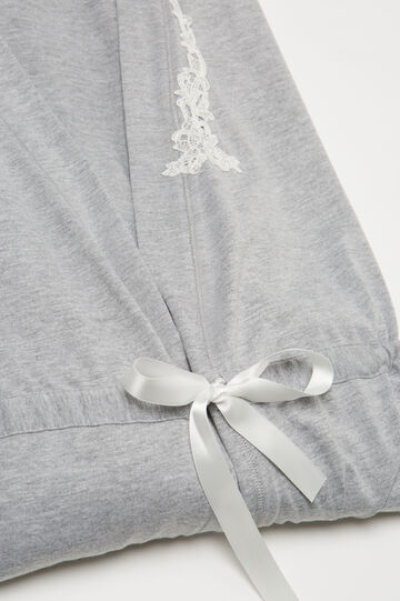 Cotton blend dressing gown with lace, Grey Marl, hi-res