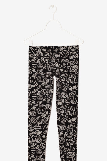 Patterned leggings, Black, hi-res