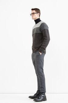 Stretched, worn-effect, wool blend pullover, Dark Grey, hi-res