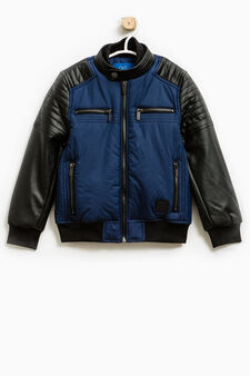 Jacket with stitching and high neck, Black/Blue, hi-res
