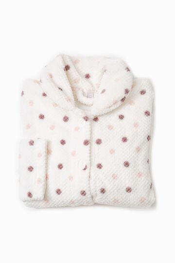 Polka dot print fleece pyjama sweatshirt, Cream White, hi-res