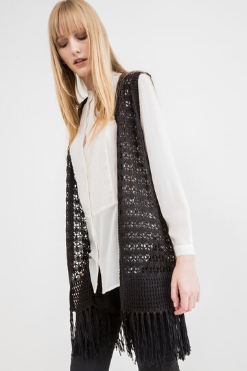 Long sleeveless cardigan with fringe, Black, hi-res