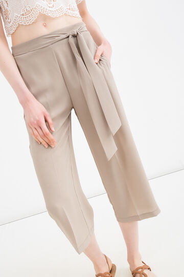 Solid colour stretch trousers, Beige, hi-res