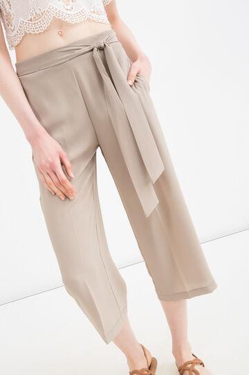 Pantaloni stretch tinta unita, Beige, hi-res