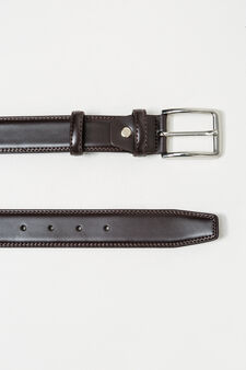 Smooth leather belt with polished buckle, Dark Brown, hi-res