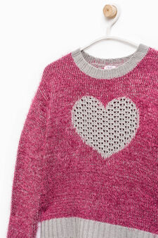 Pullover with openwork insert, Fuchsia, hi-res