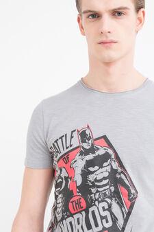 Superhero printed cotton T-shirt, Light Grey, hi-res