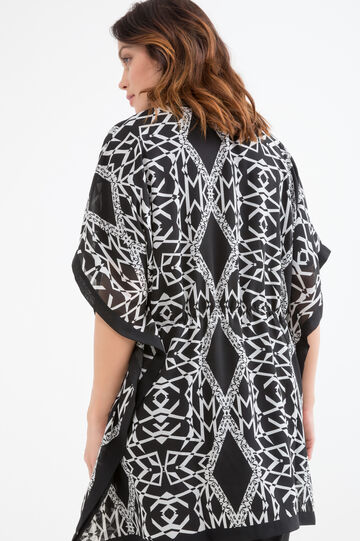 Curvy blouse with contrasting print, Black/White, hi-res