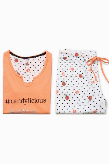 Patterned pyjamas with print, Papaya Orange, hi-res