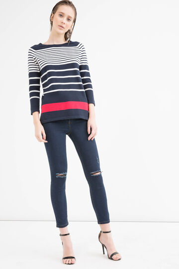 Striped cotton blend pullover, White/Blue, hi-res
