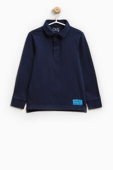 100% cotton polo shirt with long sleeves, Blue, hi-res