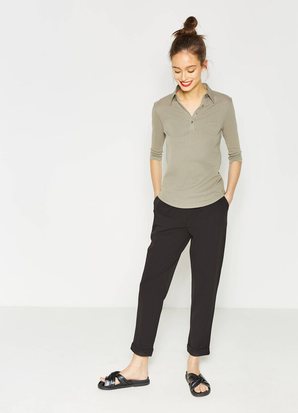 Polo shirt in cotton with elbow-length sleeves | OVS