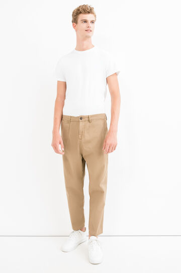 Cotton trousers with low crotch, Khaki, hi-res