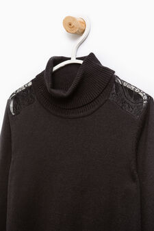 Cotton and viscose pullover with lace, Black, hi-res