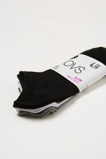 Three-pair pack solid colour short socks