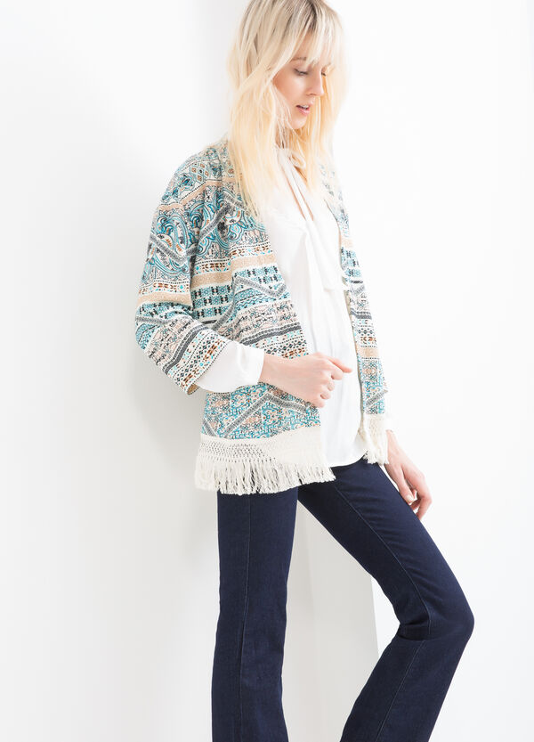 Fleece cardigan with pattern and fringes | OVS