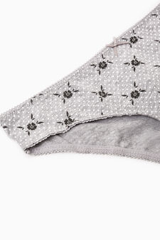 Three-pack patterned briefs in 100% cotton, Grey, hi-res